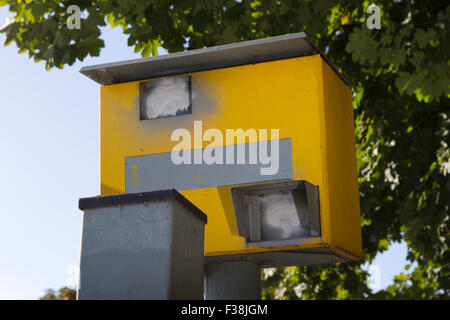 A roadside Gatso traffic speed enforcement camera defaced with spray paint Ainsdale, Southport, Merseyside, UK - Stock Photo