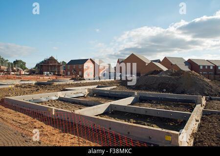 New Housing development in Northamptonshire United Kingdom - Stock Photo