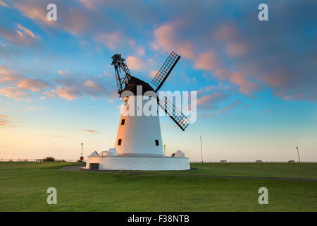 Lytham Windmill, Lancashire photographed at dawn during sunrise in autumn - Stock Photo