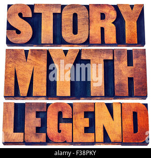 story, myth, legend word abstract - storytelling concept -  isolated words in vintage letterpress wood type printing - Stock Photo
