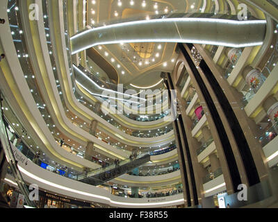 Wide angle view looking up at of the interior of the Times Square shopping centre in Causeway Bay Hong Kong Stock Photo