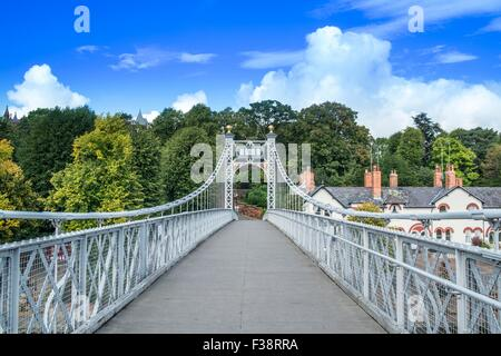 Queen's Park Suspension Bridge. over the river Dee at Chester. - Stock Photo