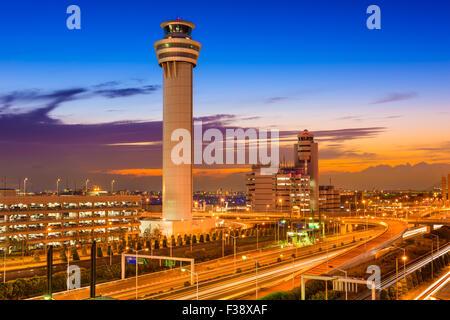 Haneda Airport control tower in Tokyo, Japan. - Stock Photo