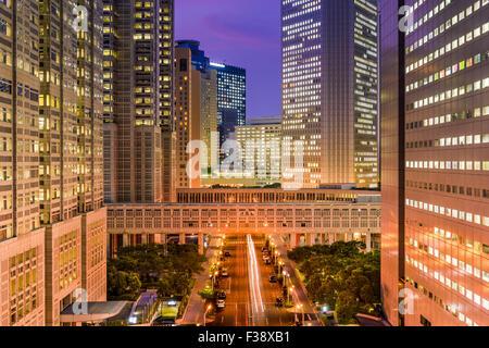 Tokyo, Japan government buildings at Tochomae in Shinjuku district. - Stock Photo