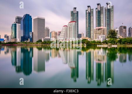 Bangkok, Thailand skyline from Benjakiti Park. - Stock Photo