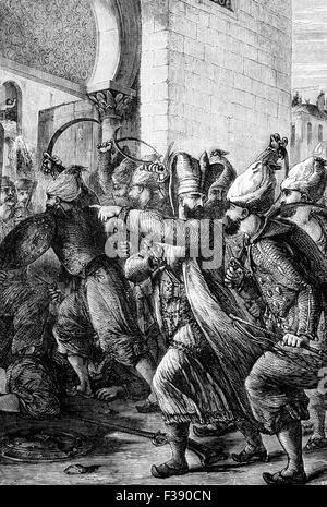 The attack 1807 on the Seraglio and Palace in Constantinople by the Chief Black Eunuch named Nezir Ağa and his men, - Stock Photo