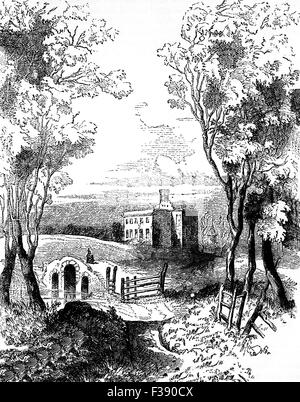 19th Century view od Dangan Castle, near Trim in County Meath, Ireland, the birth place of Field Marshal Arthur - Stock Photo