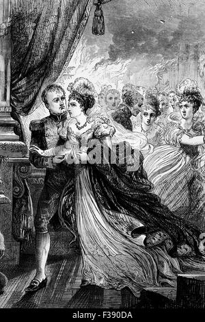 The Emperor Napoleon Bonaparte and Empress Marie Louise escaping from a fire during a ball given by the Austrian - Stock Photo
