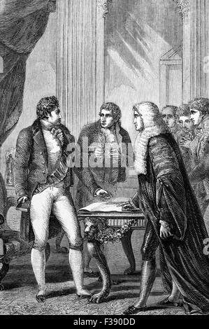 The installation of the Prince of Wales (later George IV) as Prince regent following his father's relapse into mental - Stock Photo