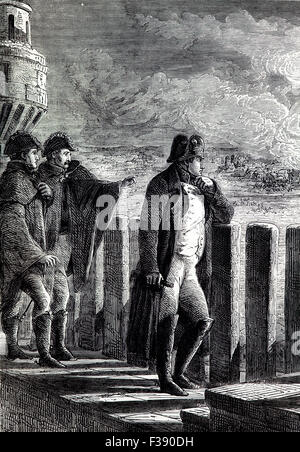 Naopeon I watching the Fire of Moscow that broke out on September 14, 1812 on the day when Russian troops and residents - Stock Photo