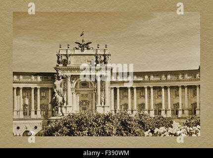 In front of the new Castle at Heldenplatz is the Equestrian statue of Prince Eugene of Savoy, Vienna, Austria, Europe - Stock Photo