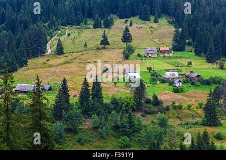 Rural landscape of the Montenegrin ridge in Carpathians - Stock Photo