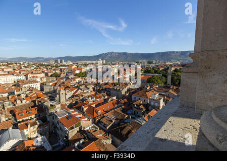 Historic old town and beyond viewed from the bell tower in Split, Croatia. - Stock Photo