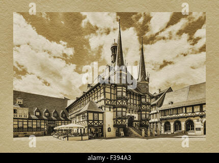 The Town Hall of Wernigerode is one of the most beautiful Town Halls in Europe, Wernigerode, Harz, Saxony-Anhalt, - Stock Photo