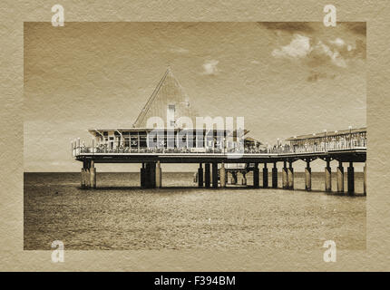 The Heringsdorf Pier at the Baltic Sea is 508 meters long, built in 1995, Usedom Island, Mecklenburg-Western Pomerania, - Stock Photo