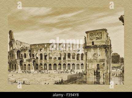 The Colosseum is the largest amphitheater. The Arch of Constantine is located in front of the Colosseum, Rome, Lazio, - Stock Photo