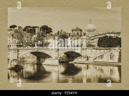 View over the Tiber River to the Vatican with the dome of St. Peters Basilica, Rome, Lazio, Italy, Europe - Stock Photo