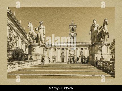 By Michelangelo designed ramp stairs (cordonata) to the Piazza del Campidoglio, Rome, Lazio, Italy, Europe - Stock Photo