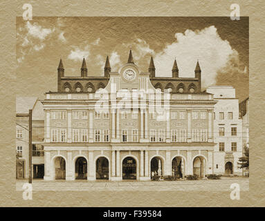 Rostock town hall build in the 13th century, Rostock, Mecklenburg-Western Pomerania, Germany, Europe - Stock Photo