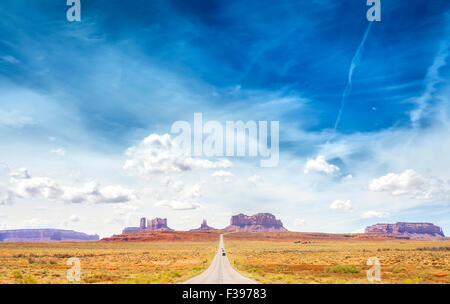 Country road to the Monument Valley, USA. - Stock Photo