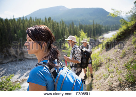 Hikers looking at view - Stock Photo