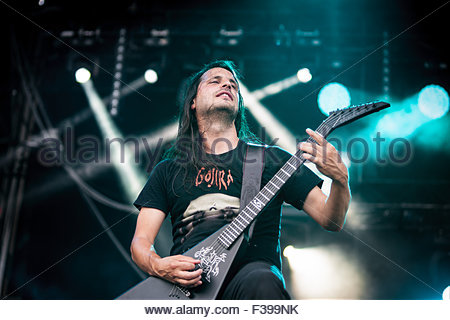 Heavy Metal band Gojira performing live : guitar player Christian Andreu - Stock Photo