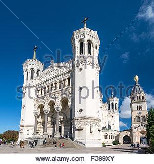 Notre-Dame de Fourviere basilica on the Fourvière hill in Lyon (France) - Stock Photo