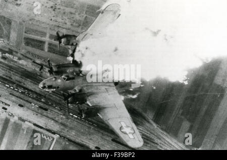 BOEING B-17 FLYING FORTRESS is shot down during a raid over Germany - Stock Photo