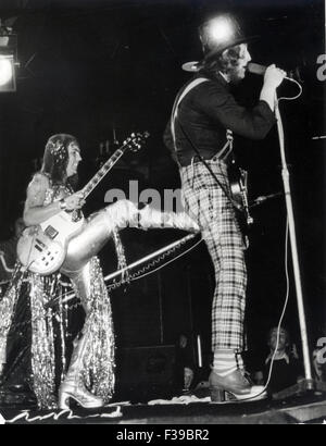 SLADE UK pop group in 1973. From left  Dave Hill, Noddy Holder - Stock Photo