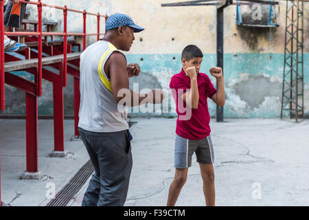 A young boy at boxing training at the Rafael Trejo Gym, in Havana, Cuba. - Stock Photo