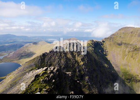 Beenkeragh and ridge with with Coomloughra Glen from Carrauntoohil in MacGillycuddy Reeks, County Kerry, Eire, Southern - Stock Photo