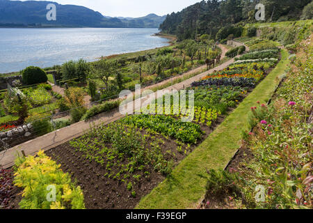 The walled garden and Loch Ewe Inverewe Gardens Poolewe West Ross Scotland - Stock Photo