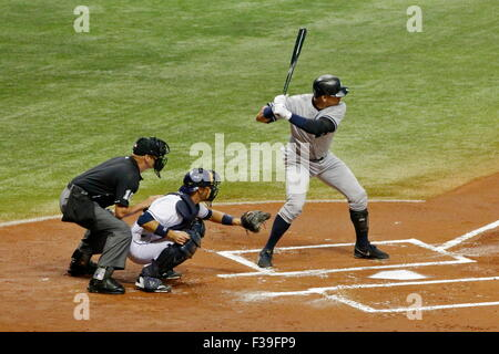 Alex Rodriguez of the NY Yankees at the plate; J.P. Arencibia of the Tampa Bay Rays catching; Vic Carapazza homeplate - Stock Photo