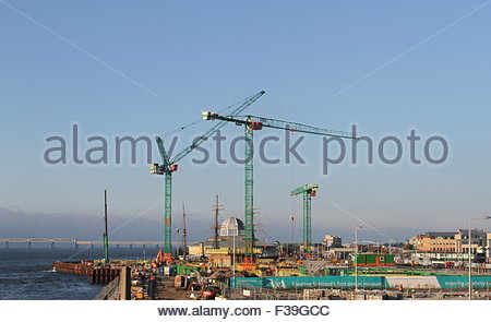 Cranes at Victoria and Albert Design Museum Construction site Dundee Scotland  October 2015 - Stock Photo