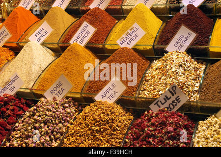 Inside the Spice Bazaar ( Egyptian Bazaar) in Istanbul, Turkey - Stock Photo