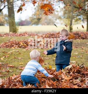 Two boys playing with autumn leaves - Stock Photo