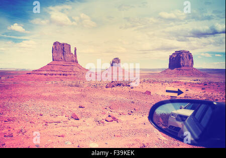 Vintage instagram style wing mirror in Monument Valley, USA. - Stock Photo