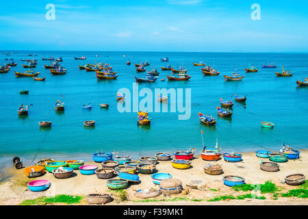 Fishing village in Mui Ne, Vietnam, Southeast Asia - Stock Photo
