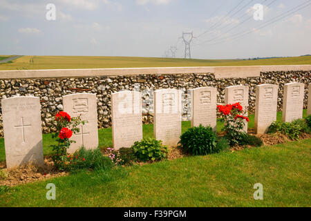 A poignant line of headstones in the Owl Trench WWI cemetery in the Battle of the Somme area of the pas de calais - Stock Photo
