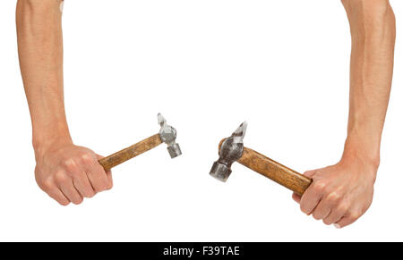 Two old hammers in hands isolated on white background