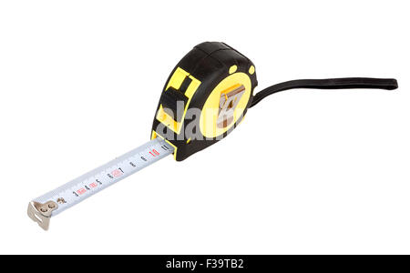 Yellow tape measure close up isolated on white background - Stock Photo