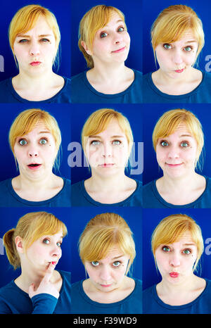 multiple faces of funny blond woman on blue background - Stock Photo