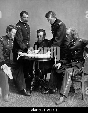 Vintage Civil War photograph of General Philip Sheridan and his staff. Pictured from left to right are: Wesley Merritt, - Stock Photo