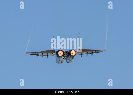 An MiG-29AS Fulcrum of the Slovak Air Force in flight over Ostrava, Czech Republic. - Stock Photo