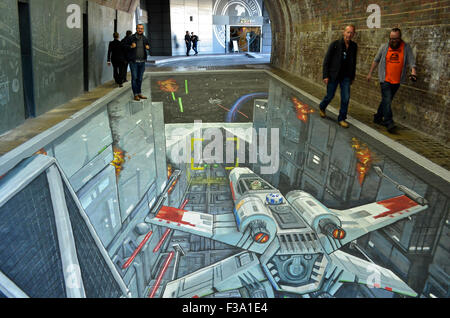 A 3-D Star Wars painting by Joe and Max which appeared in the pedestrian tunnel under Southwark Bridge, London, - Stock Photo