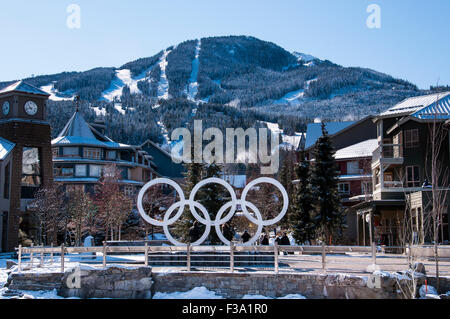 Olympic rings, Whistler Olympic Plaza, Whistler Village, Whistler Blackcomb Ski Resort, Whistler, British Columbia, - Stock Photo