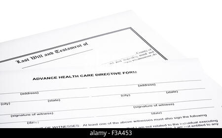 Advance Health Care Directive Form with Last will and testament isolated on white - Stock Photo