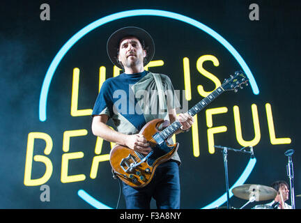 Musician James Shaw of Metric performs onstage at the 2015 Life Is Beautiful Festival in Las Vegas - Stock Photo