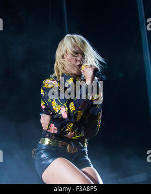 Musician Emily Haines of Metric performs onstage at the 2015 Life Is Beautiful Festival in Las Vegas - Stock Photo