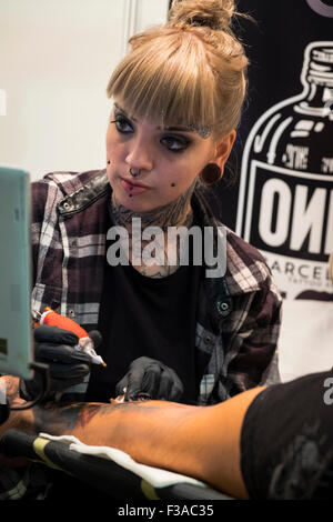 Barcelona, Spain. 2nd October, 2015. XVIII International Tattoo Expo in Barcelona, Spain. 02th October 2015. Credit: - Stock Photo